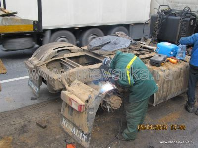 ремонт и сварка грузовика на трассе